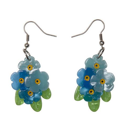 "Erstwilder Limited Edition Forget Me Nots Earrings. ""Hey little guys, why so blue? The sun is shining brightly and we doubt anyone could ever forget you."""