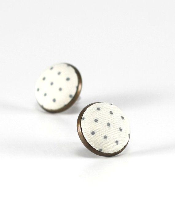 Ivory White Stud Earrings Polka Dots Earring Studs Green