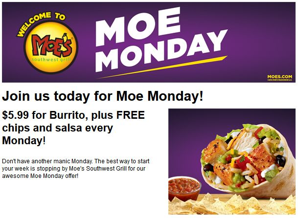 Pinned October 20th: Free chips & salsa with your $6 burrito today at #Moes Southwest Grill #coupon via The #Coupons App