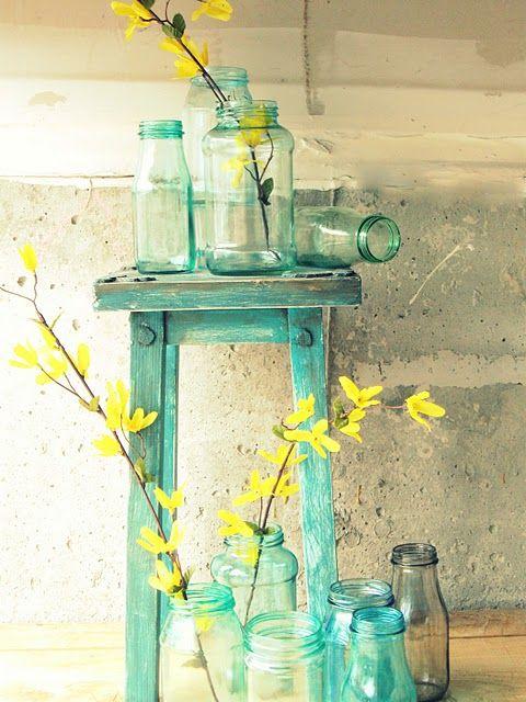 Great colors: Decor, Yellow Flowers, Blue Mason Jars, Ideas, Masons, Canning Jars, Turquoise, Glasses, Colors