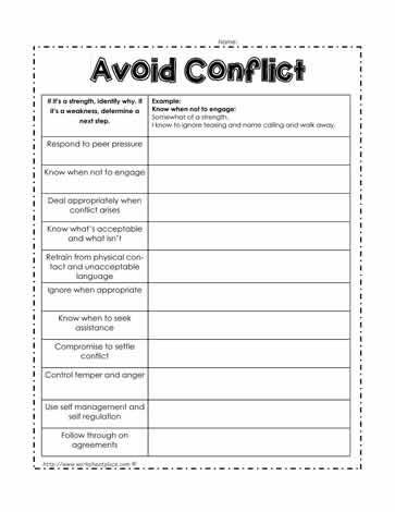 Avoid Conflict Worksheet | Conflict resolution ...