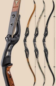Hoyt Buffalo recurve hunting bow. They do this in black too which is cool. The bow folds for easy storage and quick deployment.