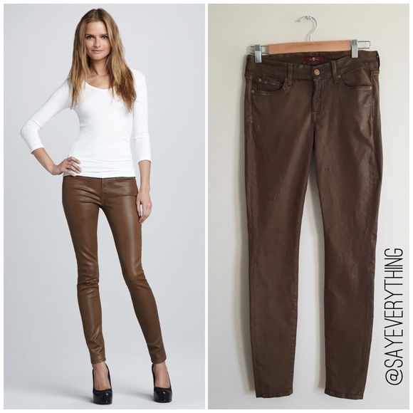 """7FAM High Shine Coated Skinny Jeans in Sepia The Skinny is our skinniest body. Second skin fit with a shorter inseam. These pants are coated using a special process for a high shine leather-like look. Color is Sepia (an olive brown). Size 27. Waist is 14"""" across. Inseam is 30."""" There is some wear on these - the belt line is a little faded/cracking and there is some puckering on the back of the right leg. Not super noticeable when worn. Price reflects these flaws. Please ask questions. Thanks…"""