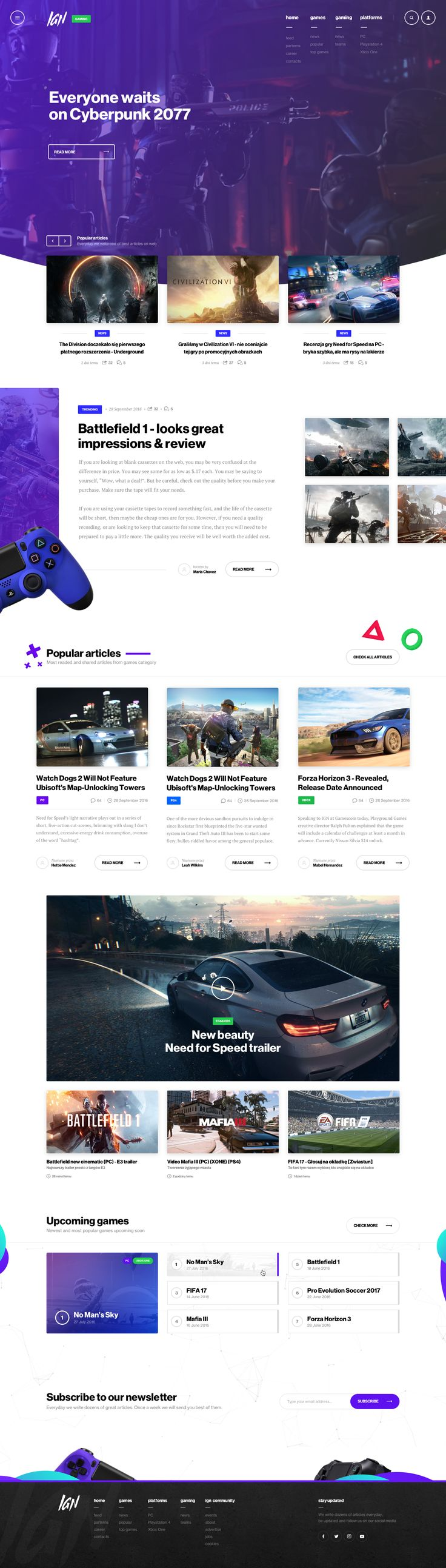Game news site concept