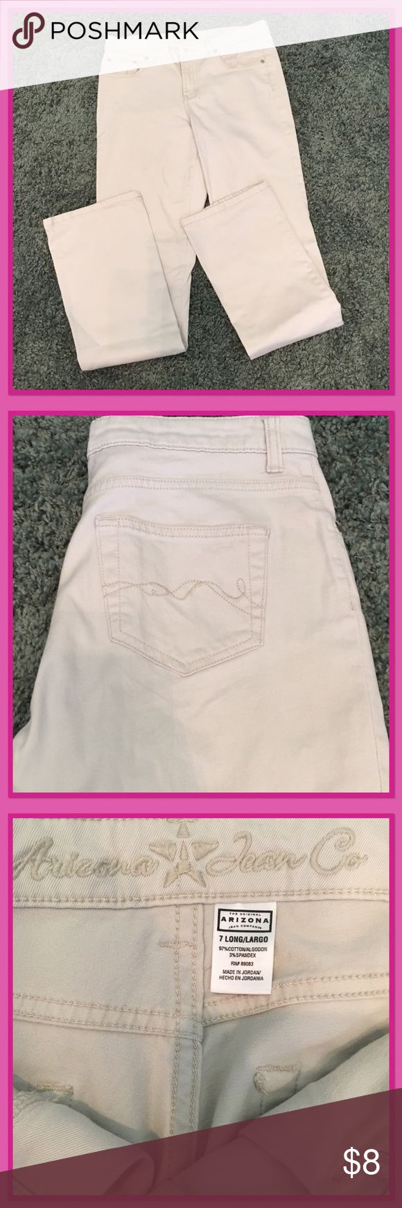 Women's cream jeans Great shape! Size long that is true to size. Arizona Jean Company Pants