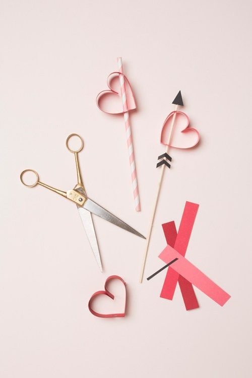 Valentine's Day party heart straws & stirrers