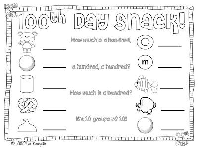 100th Day FREEBIE to use with the 100th Day Trail Mix