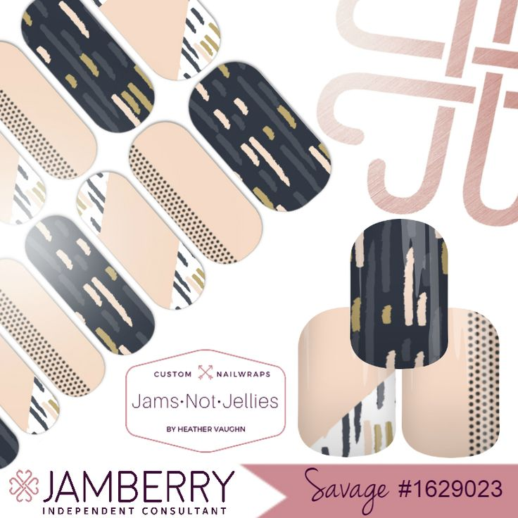 Savage • Jamberry Custom Nail Art Studio design • Easy DIY Nail Art in Nude Navy and Gold