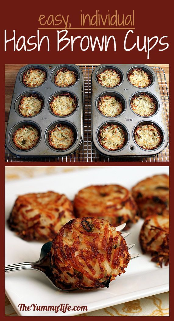 Individual Parmesan Hash Brown Cups - 1/2 the salt, 3 medium size potatoes, 350 for 40 min in 24 mini muffin pan