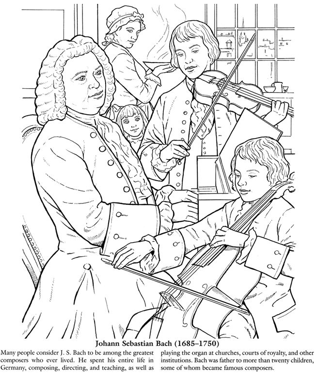 Bach Coloring Page Great Composers Pages CC Wk 21