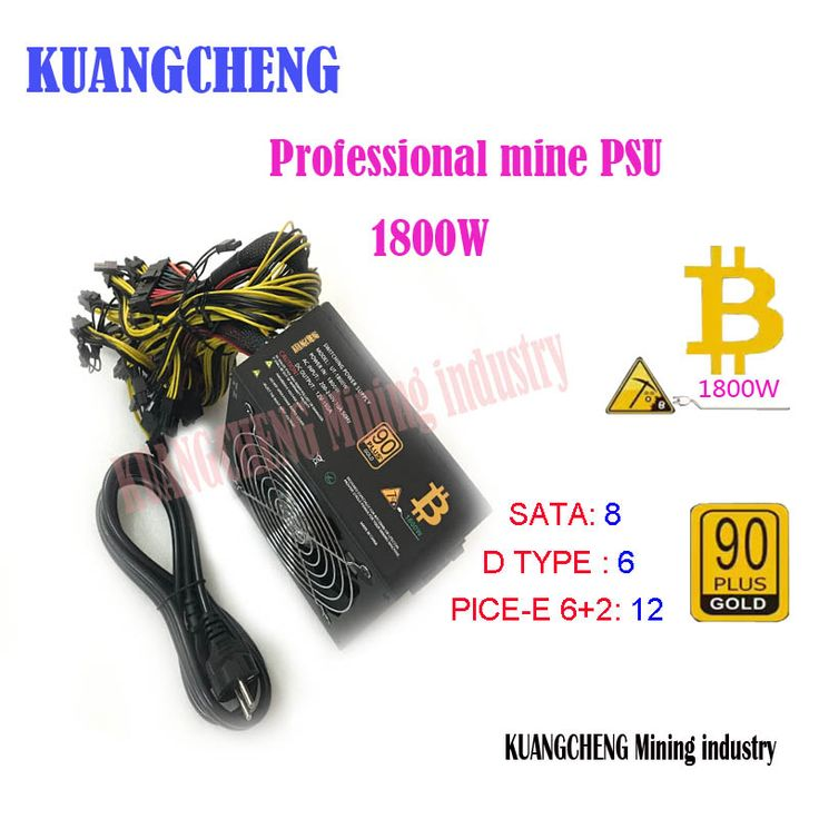 Eth Miners Power Supply 1600w 12v 125a Output Including 20pces 4pin 4 4pin 6 2pin 24pin Sata Connectors Power Cable Power Supply Connectors