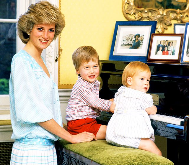 Young William  (seated left) with his brother Harry and Mummy, Princes Diana (nee Spencer). Royal Family Baby Photos