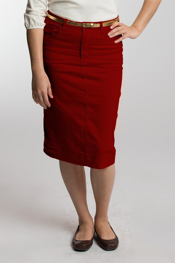 Deep Red Denim Skirt