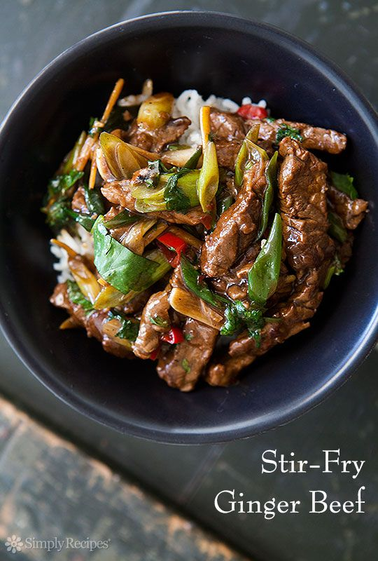 Stir-Fry Ginger Beef. Beef sirloin strips, marinated in soy sauce, rice vinegar, honey, ginger, and chile, then quickly stir-fried with green onions, chile, ginger, and garlic. On SimplyRecipes.com