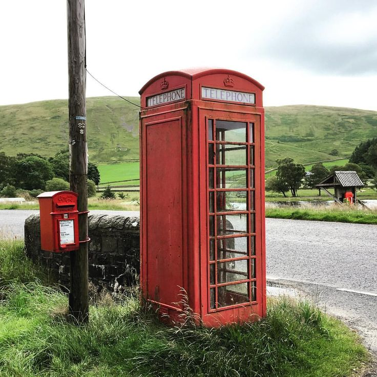 Red phone box by St Mary's Loch, Scotland.
