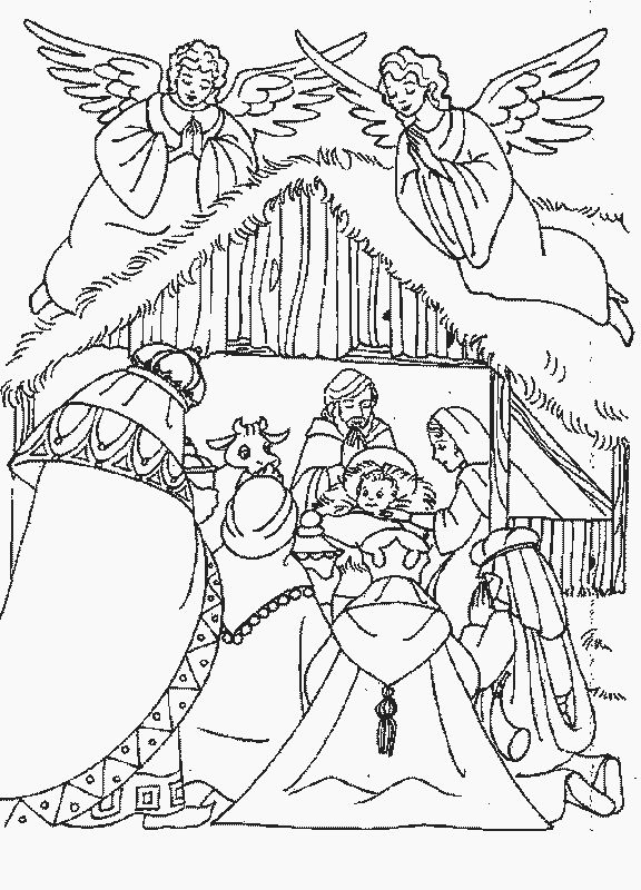 coloring page Bible Christmas Story Kids-n-Fun