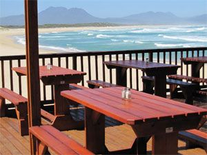 Kleinmond - views of the main beach from the Sandown Blues Cafe Restaurant Bar. #beach #kleinmond #sandowncafe
