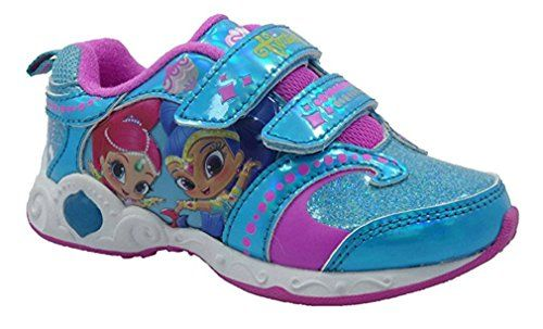 Nickelodeon Girls Shimmer & Shine Lighted Atheltic Shoes (7)  Fun Light-Up Design  Strap Velcro Closure For Easy On/Off