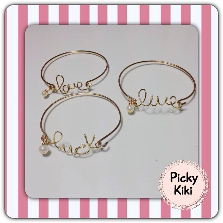 Handmade gold bracelets with a little word-wish of your choice along with an all time classic hanging pearl on it :)