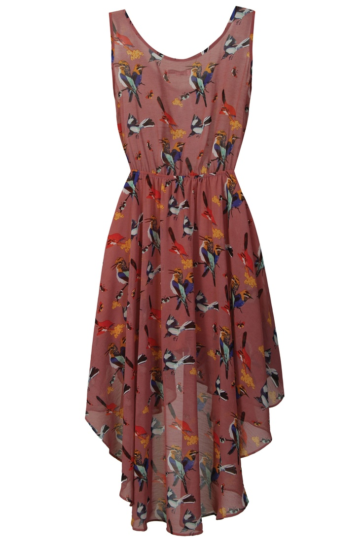 Sophie Pink Bird Print Dress <3 need this in my life sooon