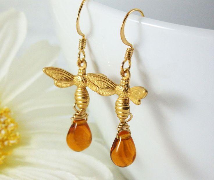 Brass Bee and Honey Earrings #BeeEarrings #BeeJewelry #MadeInCanada #GoldBeeJewelry #BeeandHoney #Earrings #ShopifyPicks
