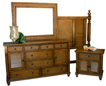 The manufacture photos are nice but still don't do justice for such high quality tropical bedroom furniture. Made of carved solid Mahagony with a padded wicker inset this beautiful furniture is meant to last. This set is unique and durable and comes with a very reasonable price! It is available in the Spice stain as shown.
