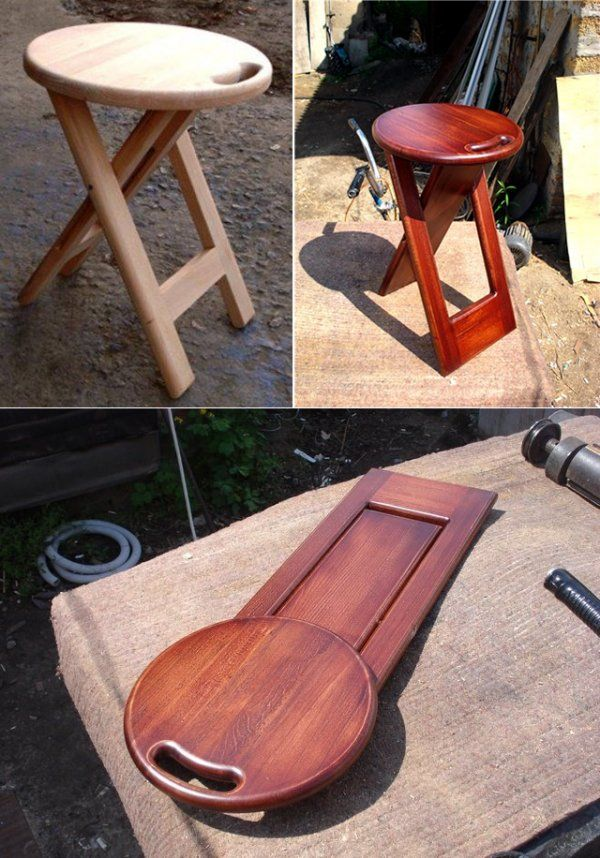 We make a comfortable and stylish folding stool with his hands