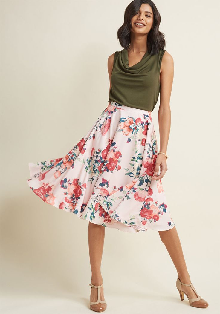 Ikebana for All A-Line Midi Skirt in Pink Petals - Shape, line, and form unfold fashionably as you drift past delicate flower displays in this smooth, soft pink A-line skirt - a ModCloth namesake label separate! Printed with an array of red, peach, and ivory flowers, and updated with the hidden pockets we know you love, this high-waisted skirt is truly worth treasuring - just like the perfected works you pass!