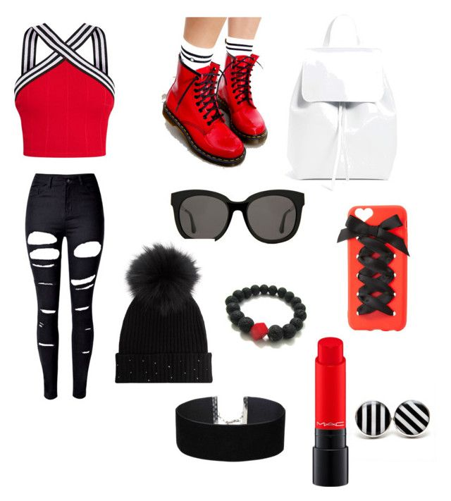 """""""le rouge"""" by khawlaammisse ❤ liked on Polyvore featuring WithChic, Dr. Martens, Mansur Gavriel, Charlotte Russe, Gentle Monster, M. Miller, MAC Cosmetics and Miss Selfridge"""