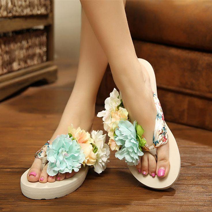 Newest 2017 Bohemia Flowers Woman Beach Flip Flops Summer Sandals Slip Resistant Slippers Platform Sandals Shoes