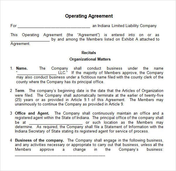 Free Operating Agreement Template - Free LLC Operating Agreement