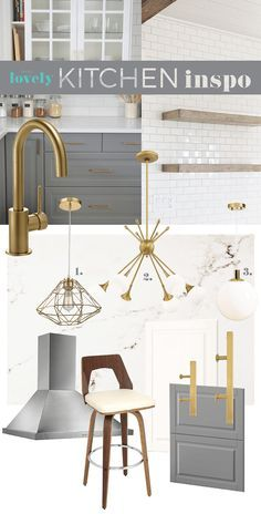 IKEA kitchen design inspiration mood board  // DIY  //  Brushed brass, grey and white