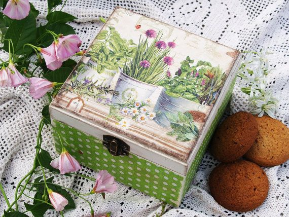 SOLD.Jewelry , cookie , tea box  Summers garden  / Decoupage technique box vintage looking. Shabby chic . Rustic style. Unique.