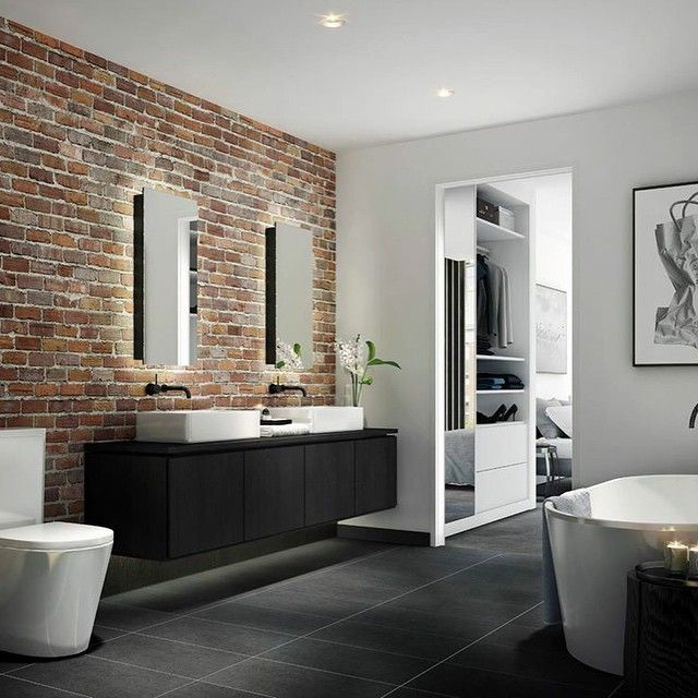 We love the element of surprise from this #exposedbrick wall in the #penthouse bathroom of #28StanleySt. #industrialchic #industrialbathroom #bathroominspo #exposedbrick #luxurybathroom #WarrenandMahoney @Floodslicer @360PropertyGroup