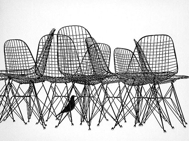 Advertising for the Eames Wire Chairs (note the Eames Bird Sculpture)