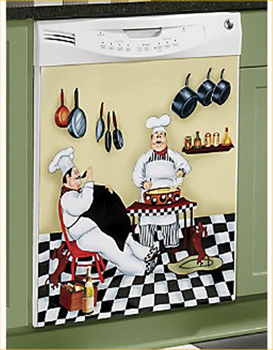 Fat chef dishwasher magnet bistro kitchen door cover for Chef kitchen decor ideas