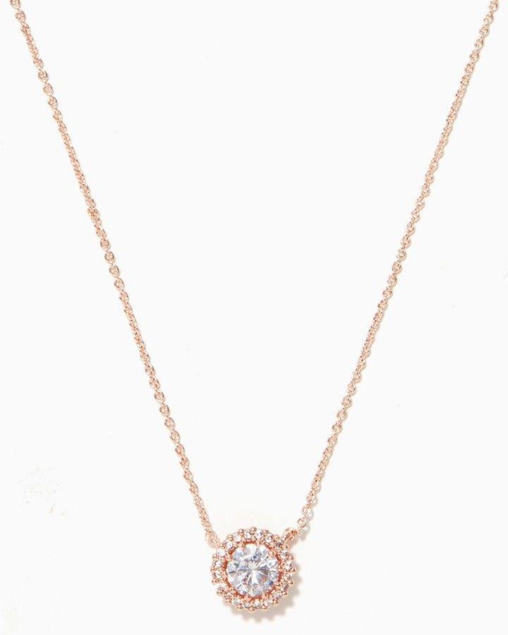 CZ Pendant Rose Gold Necklace