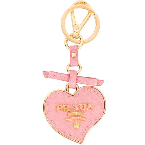 Prada heart keyring (6 835 UAH) ❤ liked on Polyvore featuring accessories, leather key ring, heart shaped key ring, prada key ring, heart key ring and prada