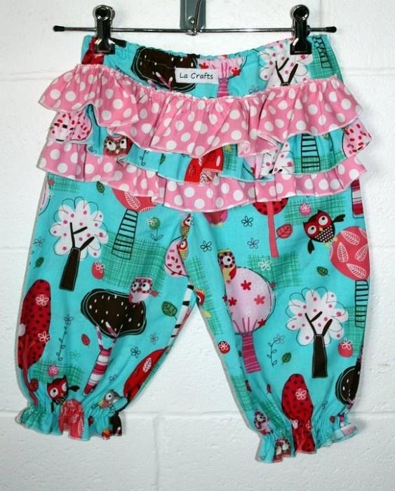 Aqua Owl 3/4 Bloomer Size 3 -     More fabric options available - http://www.facebook.com/media/set/?set=a.423115456319.212425.325318651319=3