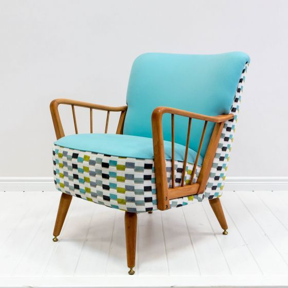 """Fotel """"Mewa""""; midcentury armchair frame w creative upholstery in olive, grey, & turquoise; deca.com.pl"""