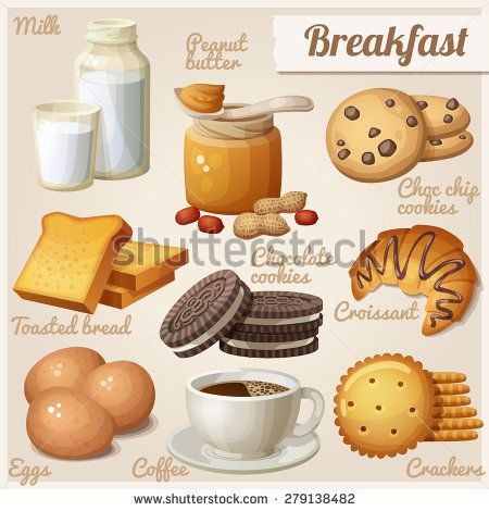 Breakfast 3. Set of cartoon vector food icons. Milk, peanut butter, choc chip cookies, toasted bread, chocolate cookies, croissant, eggs, coffee, crackers