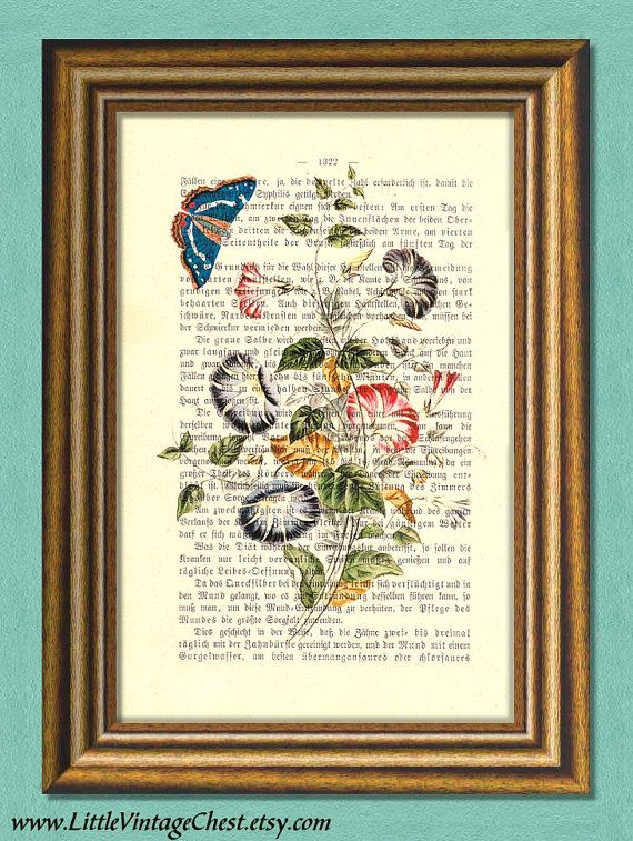 MORNING GLORY flowers & butterfly  Wall art  by littlevintagechest, $7.99