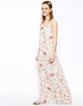 New Look Floral Strappy Chiffon Maxi Dress