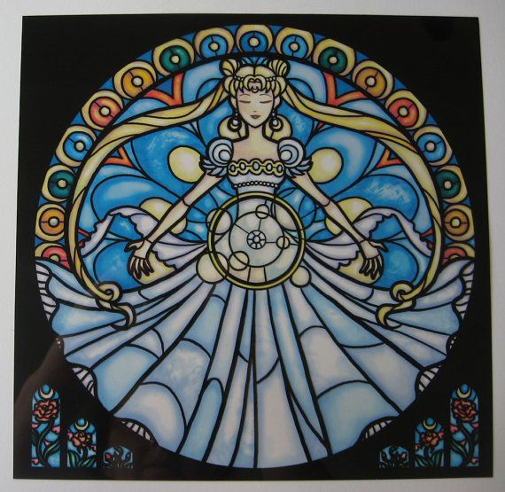 Stained Glass Princess Millennium Rose Print. A print that imitates the look of stained glass. Just tape it up in the window and viola, instant stained glass! This one features Sailor Moon as the Princess Millennium. Approximately 9x9 #print  $10