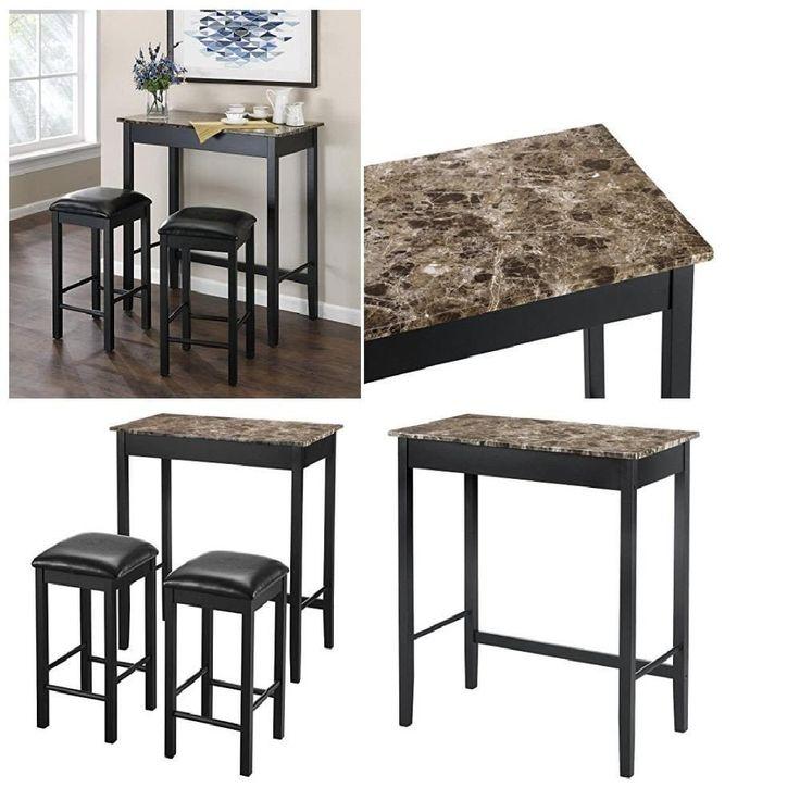 design tabletop Devyn Faux Marble Pub Dining Set 2 matching black padded stools #DorelLiving