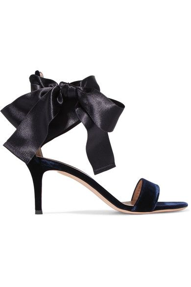 Heel measures approximately 70mm/ 3 inches Navy velvet and satin Ties at ankle Made in Italy