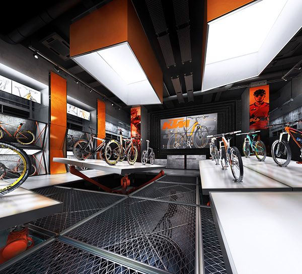 FINAL version of the ultimate retail design project of the CONCEPTUAL bicycle STORE for the KTM BICYCLES brand