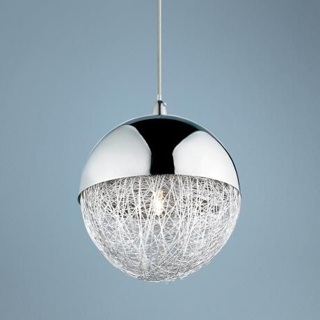 Sonnet 6 wide winding globe chrome pendant light