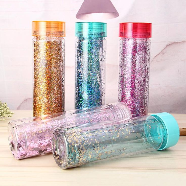 550ML Double Wall BPA Free Glitter Plastic Drinking Water