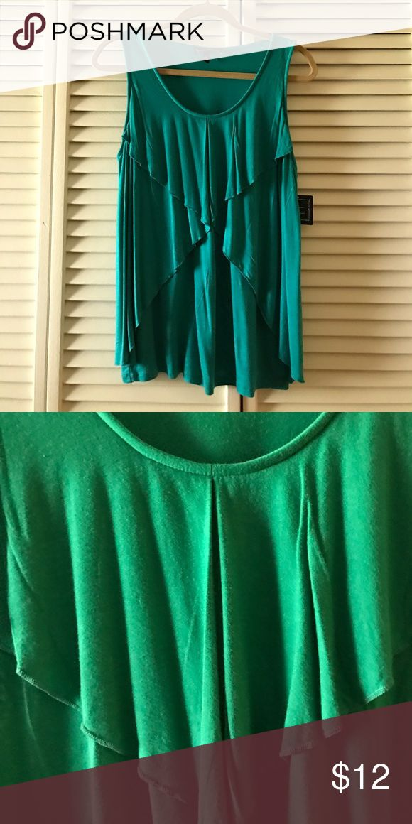 """RUFFLED FRONT TANK Kelly green ruffled front tank. Measures approximately 27""""from shoulder to hemline. BRAND NEW. NEVER WORN. Has been in a Smoke and Animal Free Home. Mercer & Madison Tops Tank Tops"""